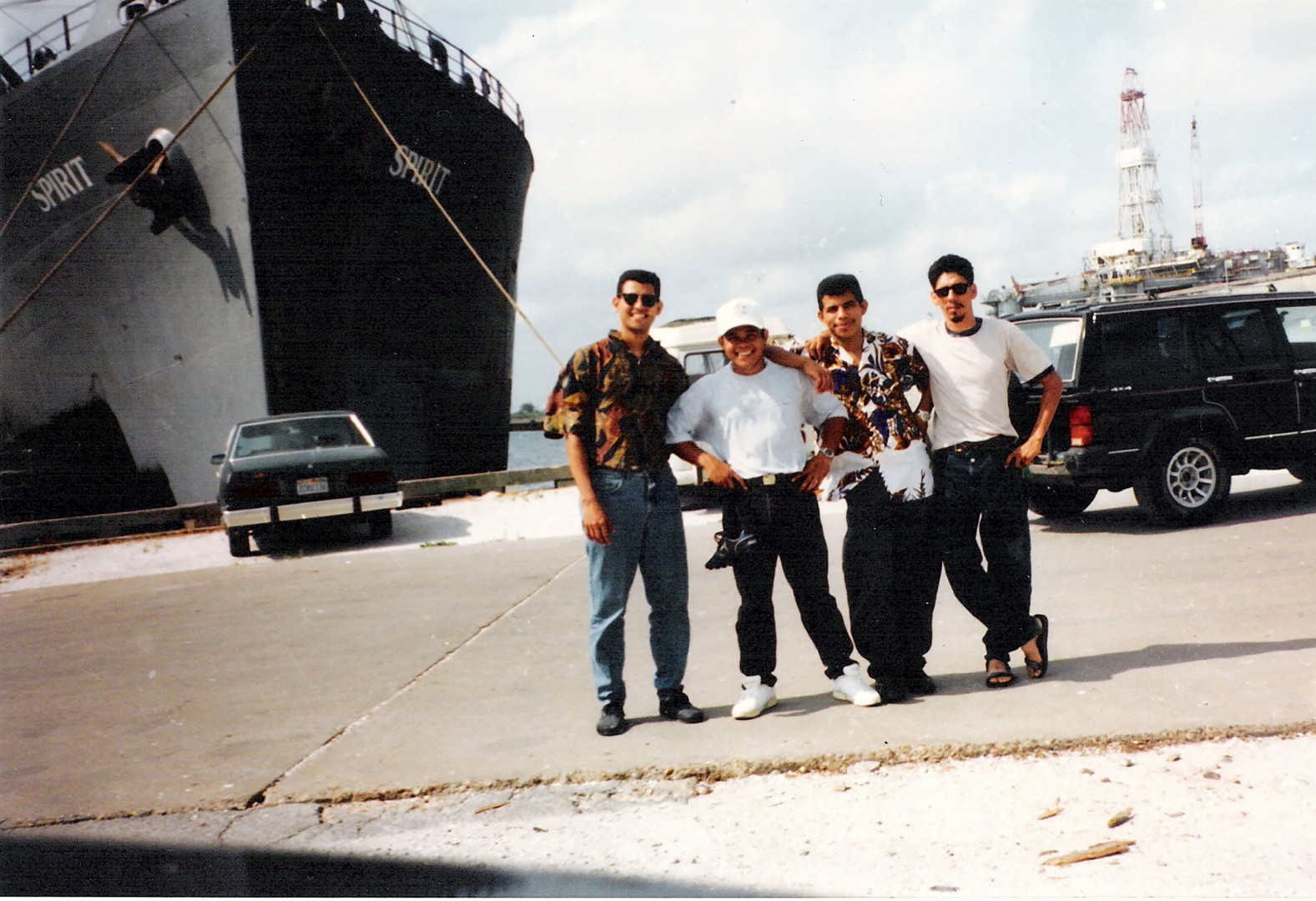 Oscar, Fermin, Alex, and Victor in front of the Spirit ship