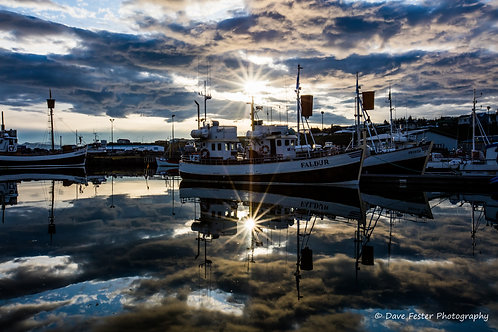 Reflections - the boats of Husavik #2 (Ice-12)