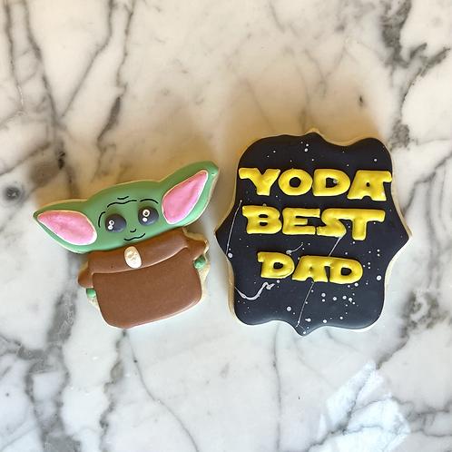 """""""Yoda Best Dad"""" Sugar Cookie Pack"""
