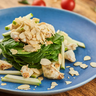 Crab meat baby spinach salad