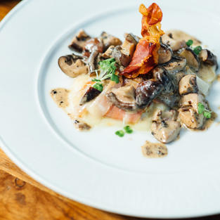 Grilled scamorza Shitake mushrooms