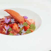 Lobster, heritage tomato, strawberries, basil puree & cabernet sauvignon vinaigrette