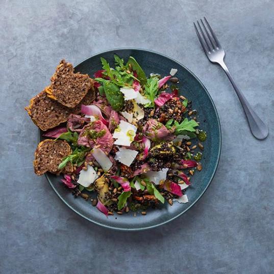 Beef, charred pepper, artichoke, radicchio & black quinoa salad