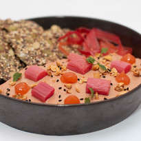 Duck liver parfait, hazelnut, buckwheat seeded cracker