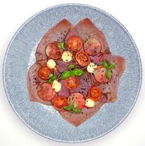 Tuna carpaccio, watermelon, tomato & chilli, wasabi mayo & ponzu dressing