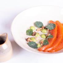 Cured Salmon, pickled shimeji, nasturtium, dashi broth
