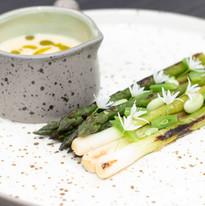 Grilled asparagus & callcots, wild garlic, split dill cream