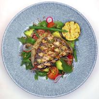 Grilled tuna, chimichurri, avocado & tomato salad