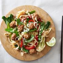Vietnamese sticky pork, noodle & pak choi stir fry