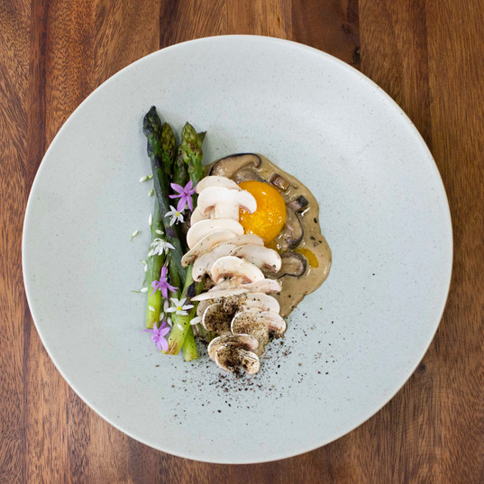 Wild mushrooms, confit egg yolk, asparagus, leek ash