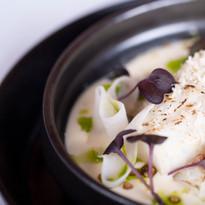 Cod, horseradish potato puree, pickled kholrabi, toasted buckwheat, dill oil