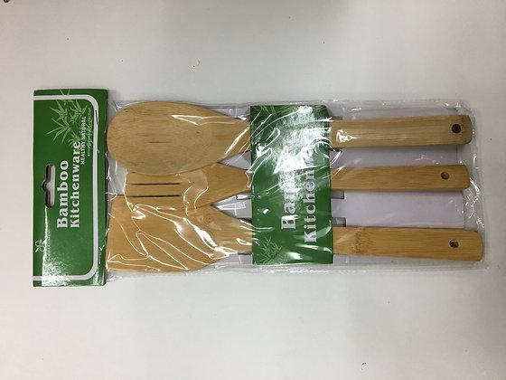 Lepelset bambou set cuillère/spatule 3pcs