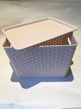 Rattan basket with cover Beige