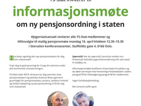 Husk YS Stats informasjonsmøte 16. april om den nye pensjonsavtalen!