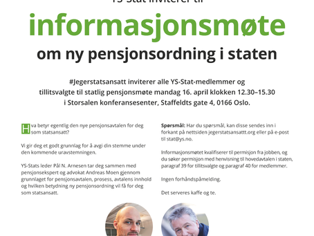 Informasjonsmøte om pensjon 16. april