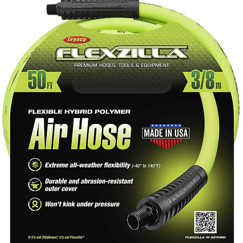 Legacy HFZ3850YW2 Flexzilla 3/8 by 50 Zilla Green Air Hose with 1/4 Ends