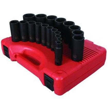 """Sunex Tools (SUN2641) 19 Piece 1/2"""" Drive Deep SAE Impact Socket Set"""