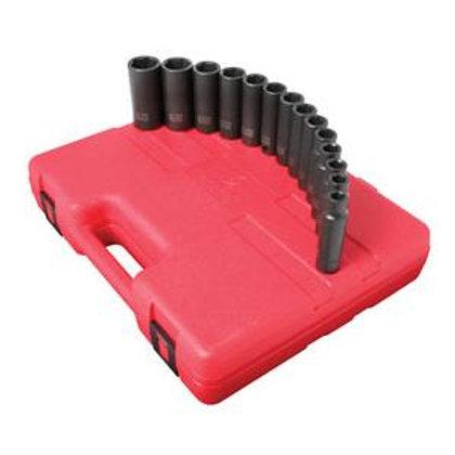 "Sunex Tools (SUN2653) 14 Piece 1/2"" Drive 6 Point Deep Metric Impact Socket Set"