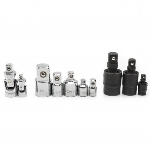 """10 Pc. 1/4"""", 3/8"""" & 1/2"""" Drive Universal Joint and Adapter Set"""