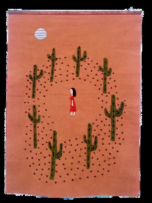 Floresta de cactos com mulher