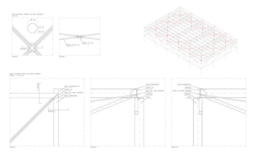 Pavelló detalls estructura