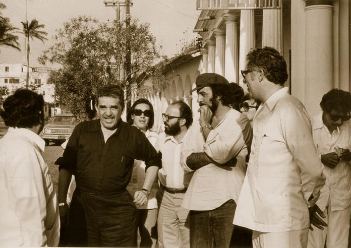 La Viuda de Montiel, Roberto Bravo, rector, Gabriel García Márquez, Manuel de Elías, Jorge Rufinelli, Miguel Littin, Eliseo Mendoza Berruetos y Fernando Vilchis. 1979