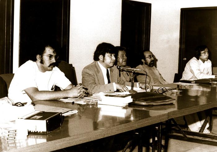 Izquierda-derecha) Rafaél Arias, Roberto Bravo Rector, Aureliano Hernández Palacios, Emilio Carballido y Arturo Pulido. 1977