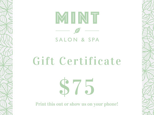 $75 Email Gift Certificate