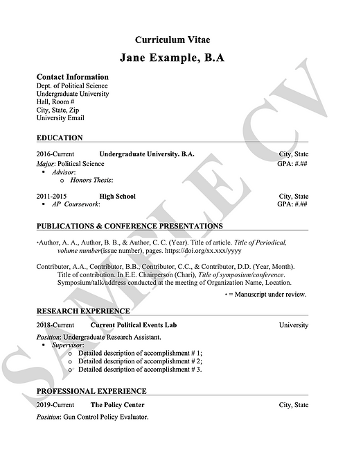 Revised Curriculum Vitae (CV)