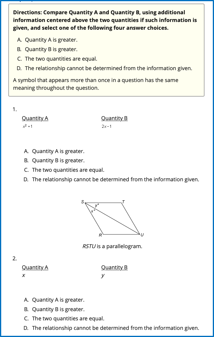GRE Quant Comparison Questions