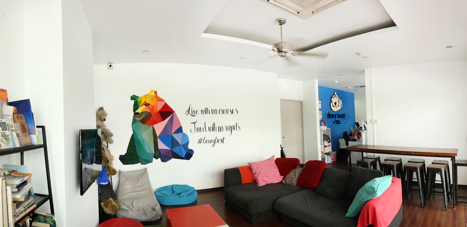 Beary best hostel TV lounge netflix common area
