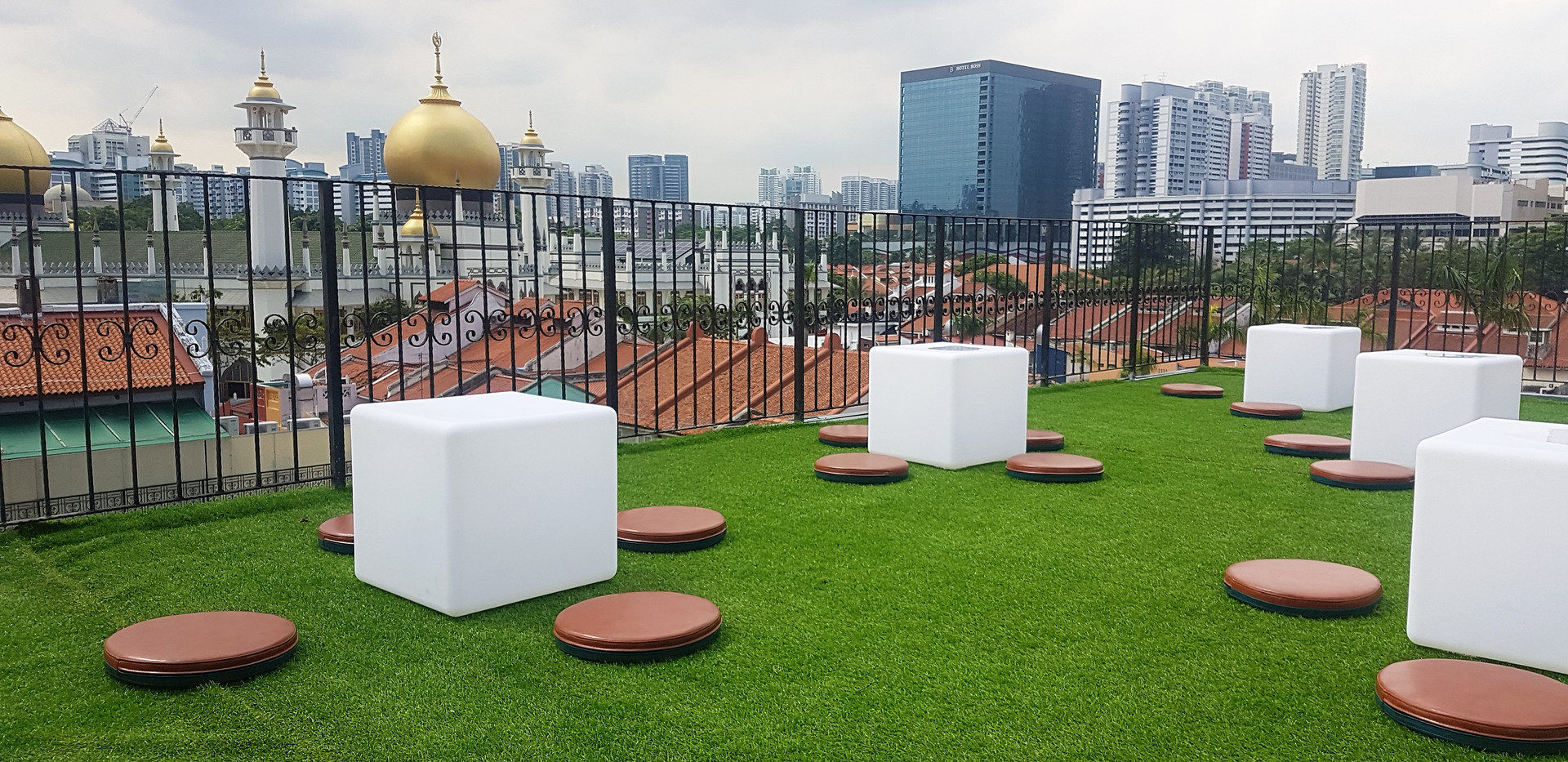 Roof Terrace and seating area overlookin