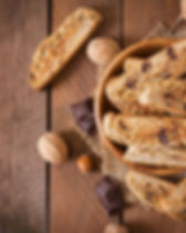 Italian biscotti cookies with nuts and c