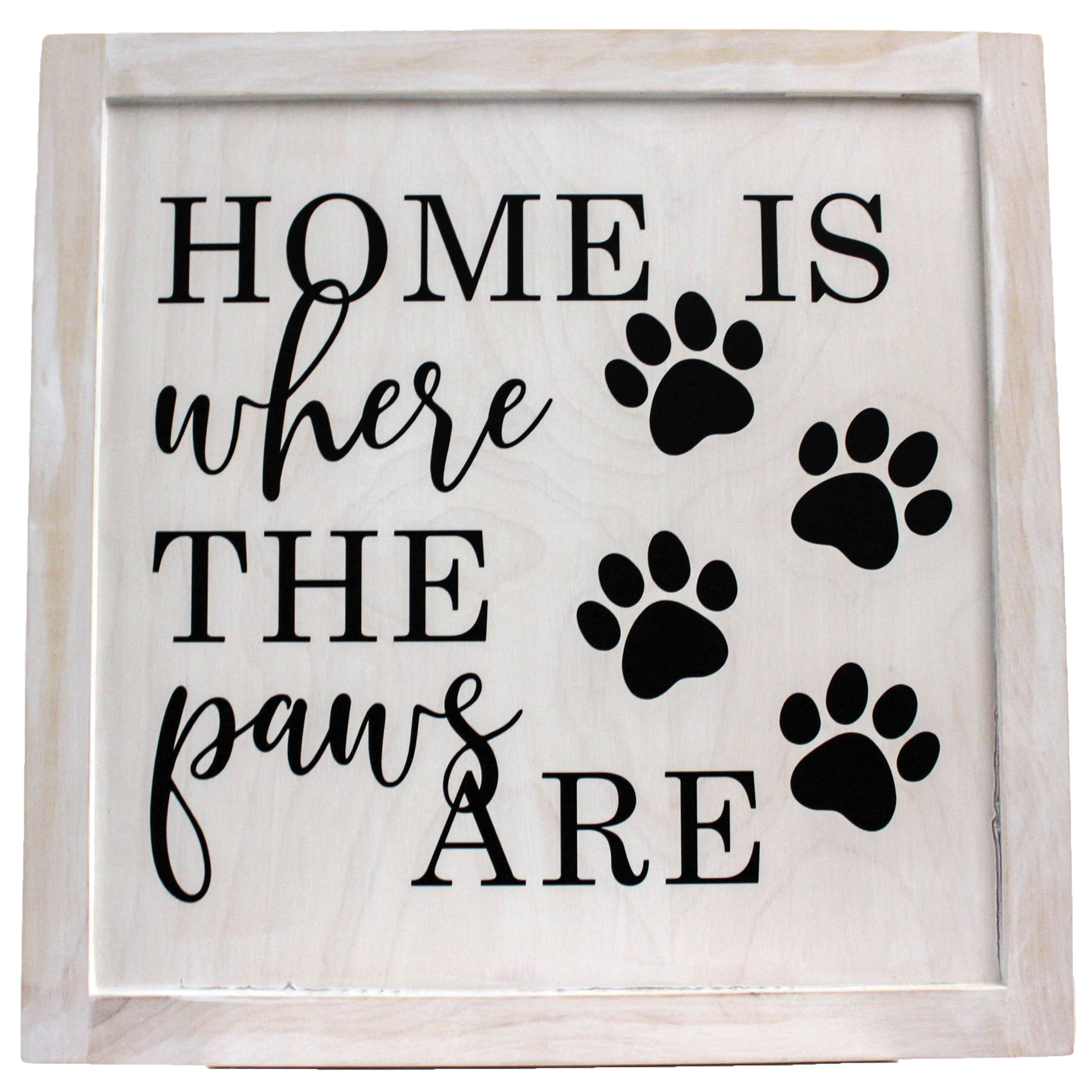 Wooden Photo Frame Home is where the paws are