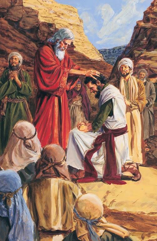 Moses ordains Joshua (thomas-art-37734-tablet)