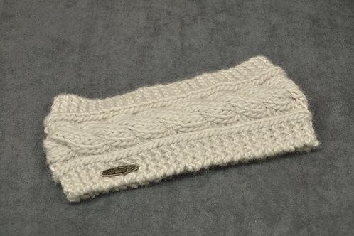 White colored hand knitted headband made with alpaca yarn