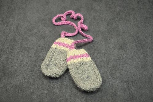 Pink Heritage Newborn Mittens
