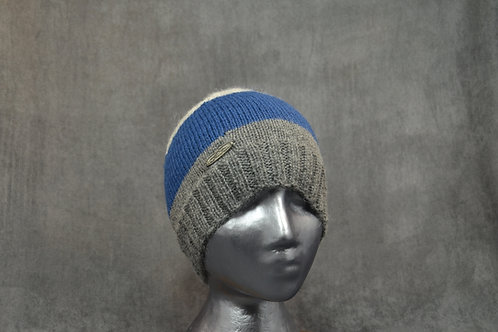 Blue winter beanie for men hand knitted with alpaca yarn
