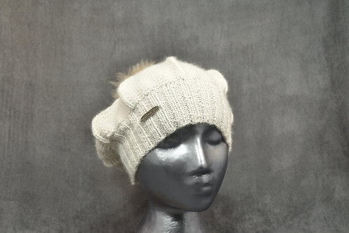White colored beret with pompom hand knitted with alpaca yarn