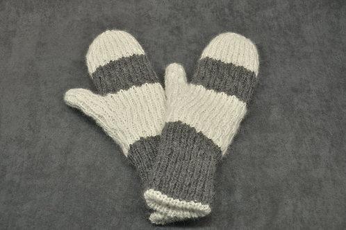 White & grey hand knitted alpaca mittens