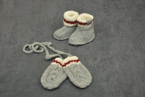 Canadian sock style hand knitted alpaca newborn mittens and booties