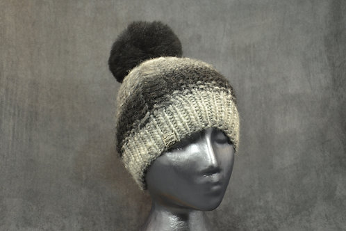 Hand Knitted Gradient Grey Winter Hat With Pompom Made With Natural Alpaca Yarn