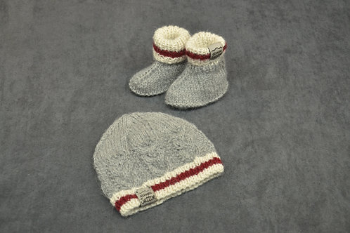 Canadian sock style hand knitted alpaca newborn hat and booties