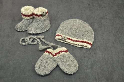 Canadian sock style hand knitted alpaca newborn hat mittens and booties