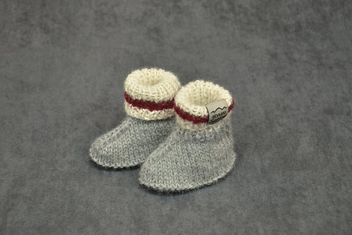 Canadian socks style hand knitted alpaca newborn booties
