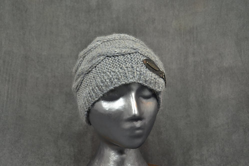 Light silver colored hat with leather belt buckle hand knitted with baby alpaca yarn