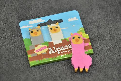 Set of three alpaca shaped erasers