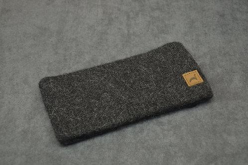 Charcoal colored headband made with alpaca