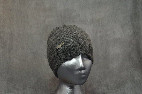 Charcoal hand knitted alpaca winter beanie for men
