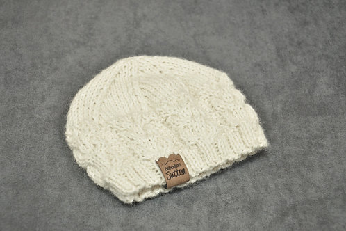 White hand knitted alpaca hat for newborn